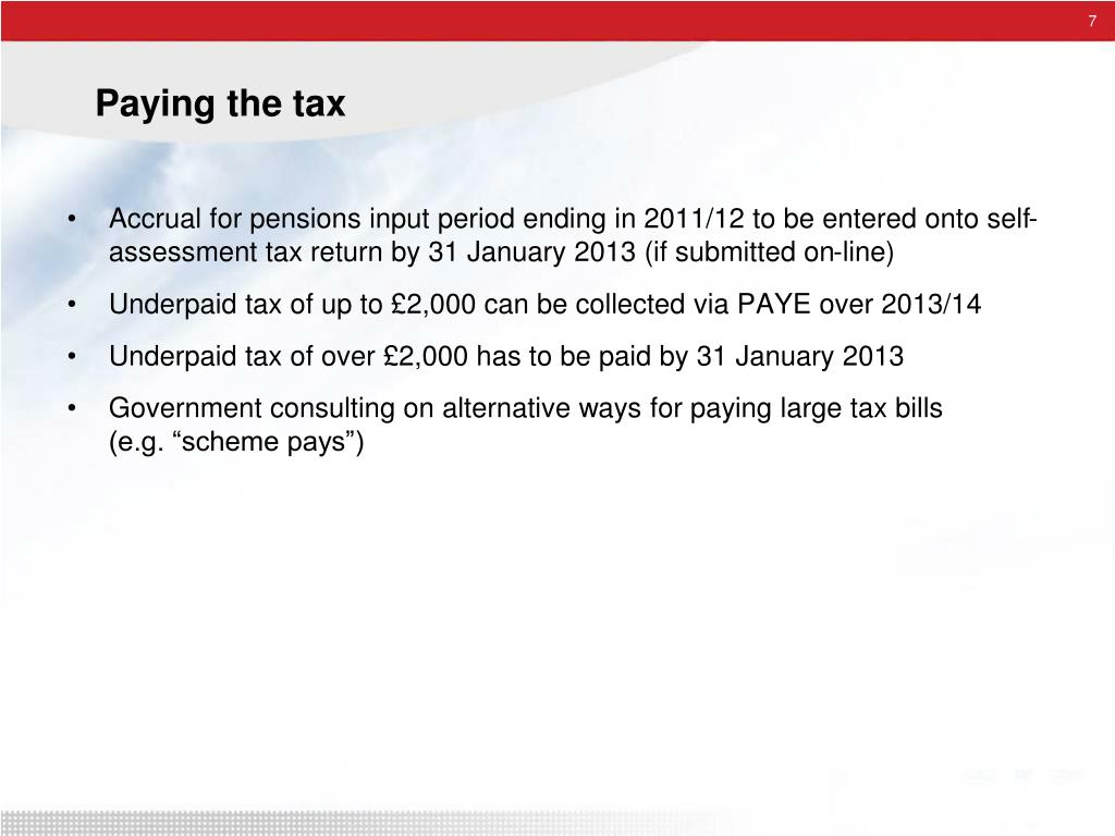 Paying the tax
