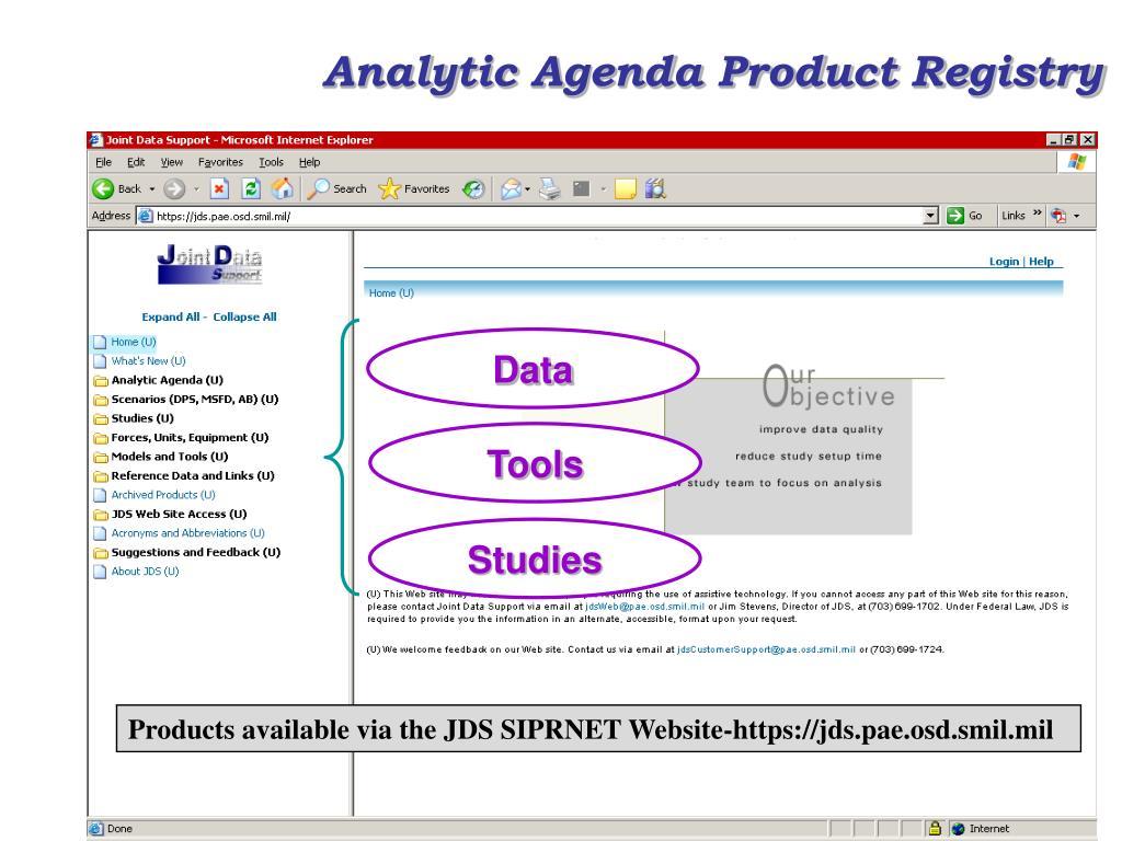 Analytic Agenda Product Registry
