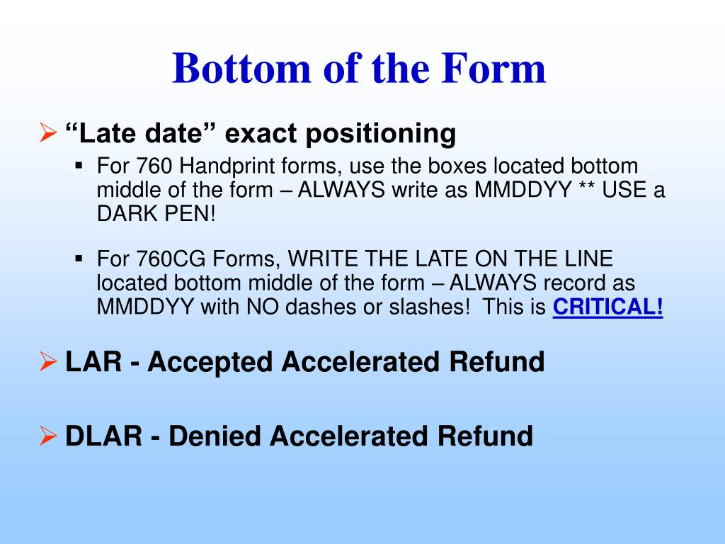 """""""Late date"""" exact positioning"""