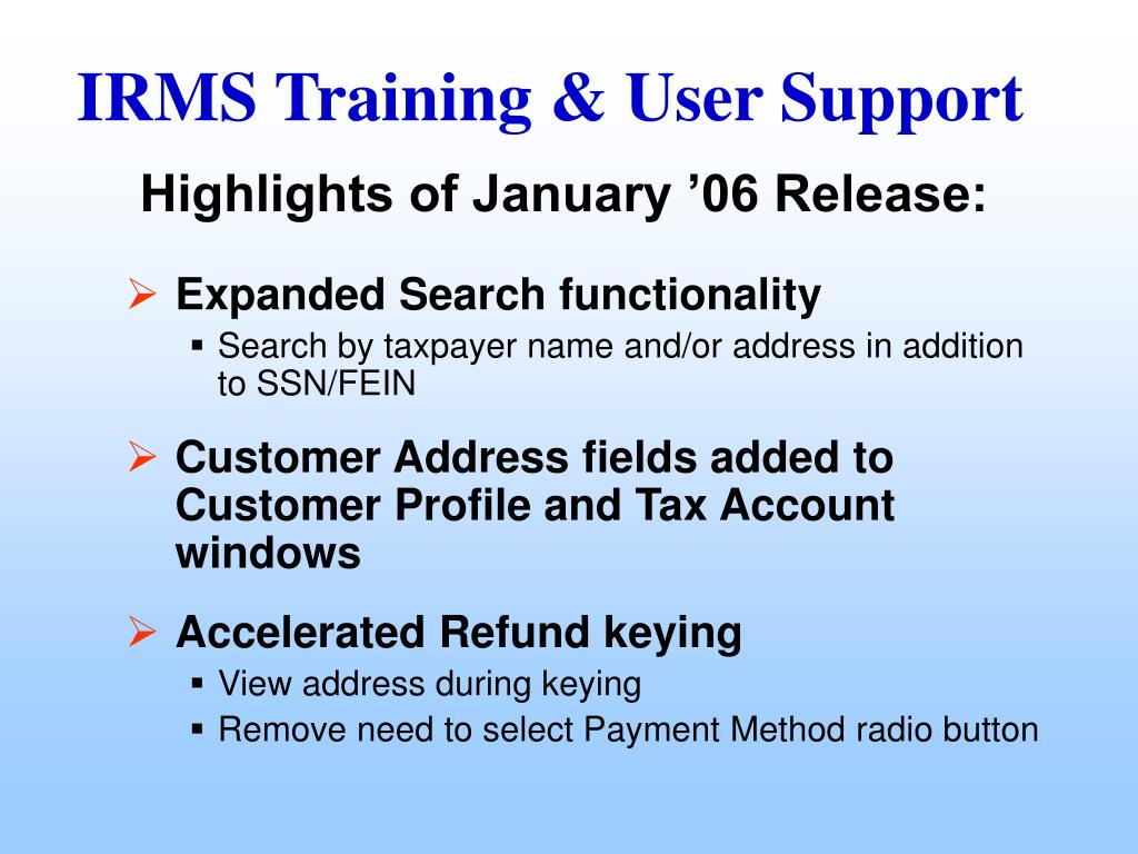 Highlights of January '06 Release: