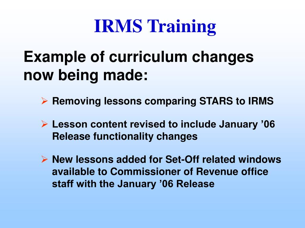 Example of curriculum changes now being made:
