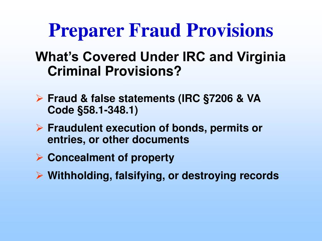 What's Covered Under IRC and Virginia Criminal Provisions?