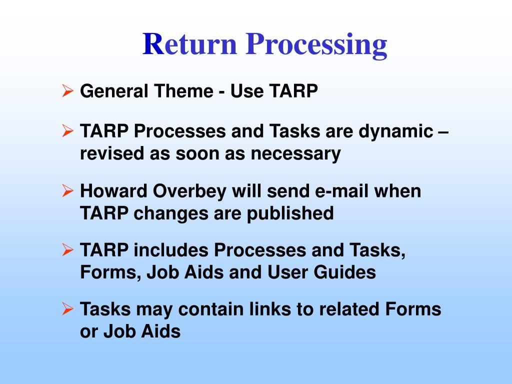 General Theme - Use TARP