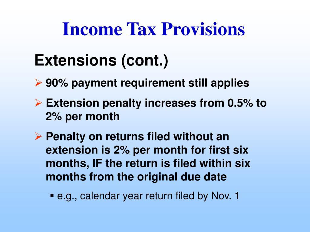 Income Tax Provisions