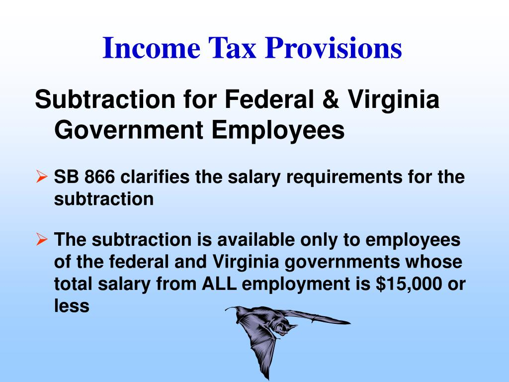 Subtraction for Federal & Virginia Government Employees