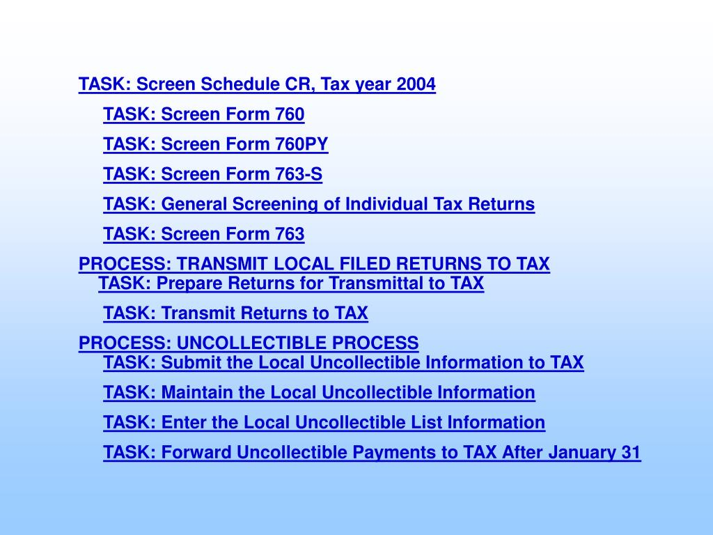 TASK: Screen Schedule CR, Tax year 2004