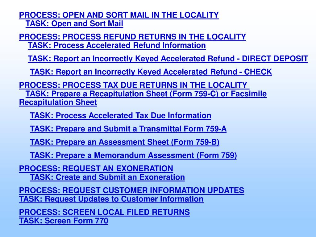 PROCESS: OPEN AND SORT MAIL IN THE LOCALITY