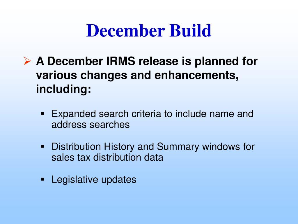December Build
