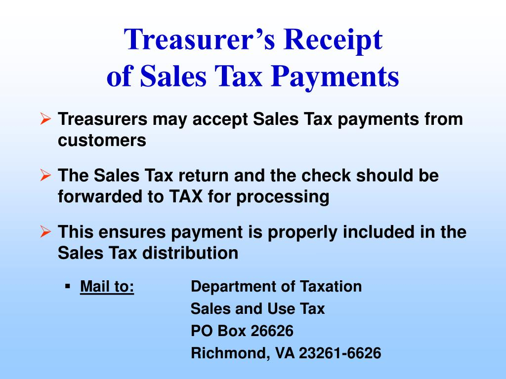 Treasurers may accept Sales Tax payments from customers