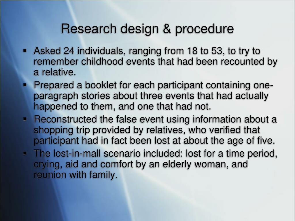 Research design & procedure