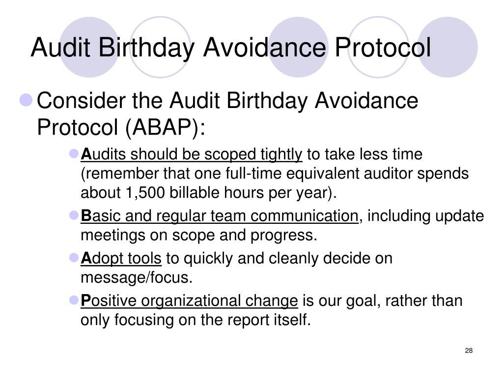 Audit Birthday Avoidance Protocol