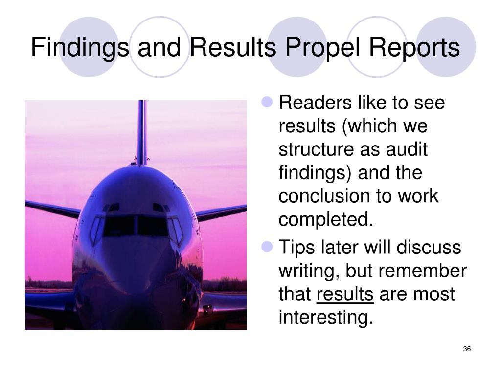 Findings and Results Propel Reports