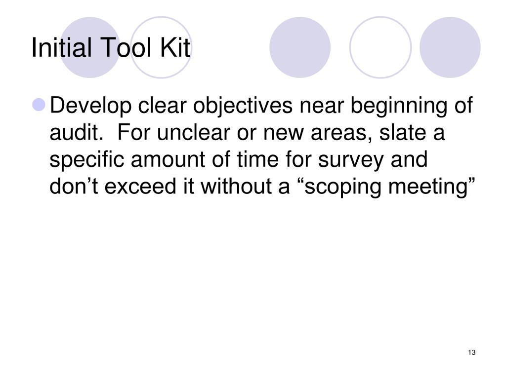 Initial Tool Kit