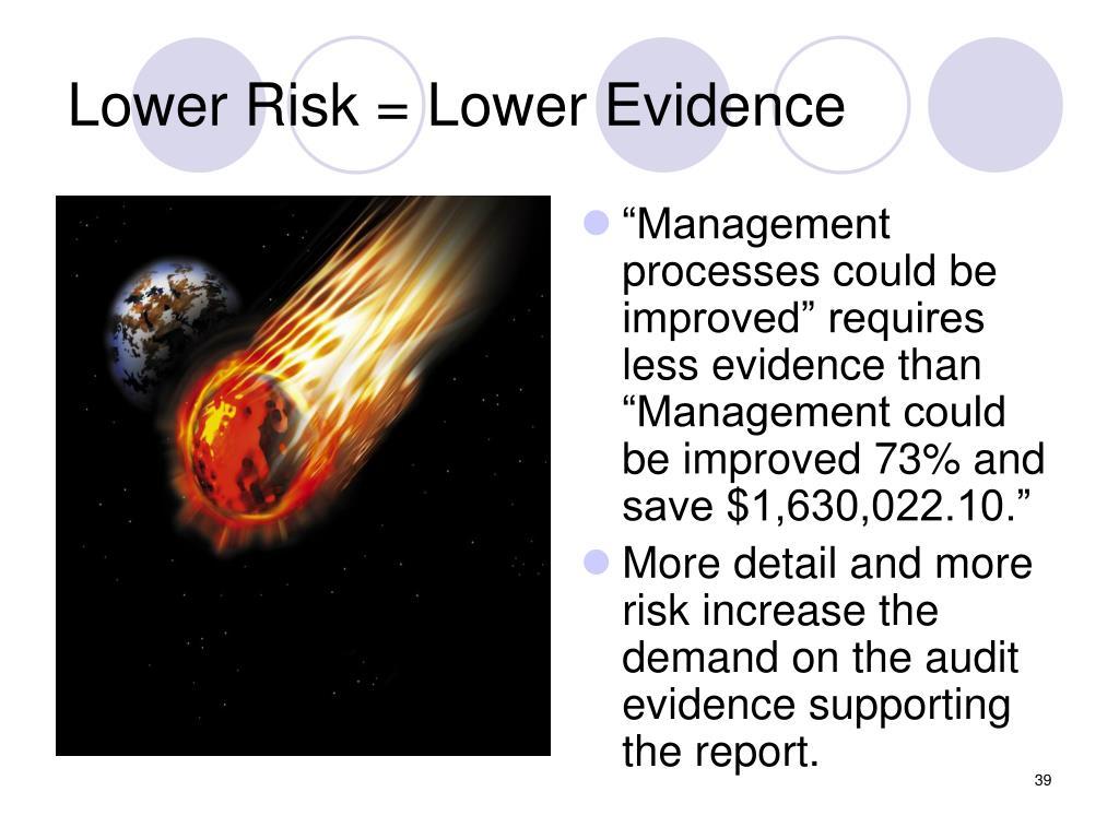 Lower Risk = Lower Evidence