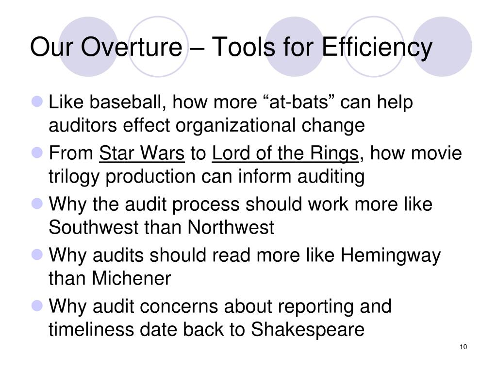 Our Overture – Tools for Efficiency
