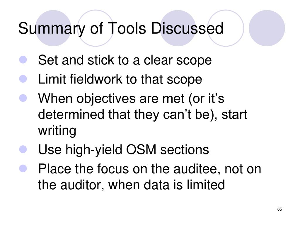 Summary of Tools Discussed