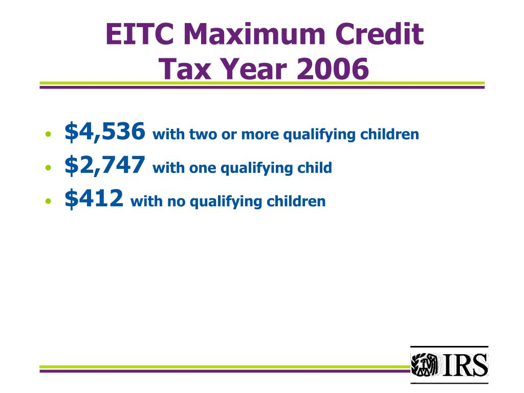 EITC Maximum Credit