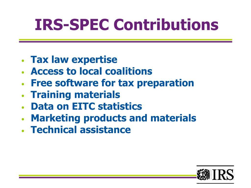 IRS-SPEC Contributions