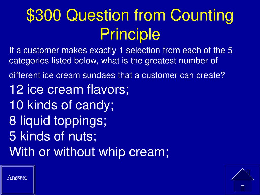 $300 Question from Counting Principle