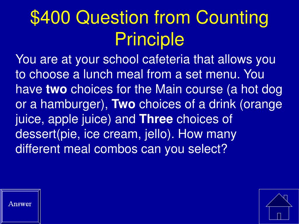 $400 Question from Counting Principle
