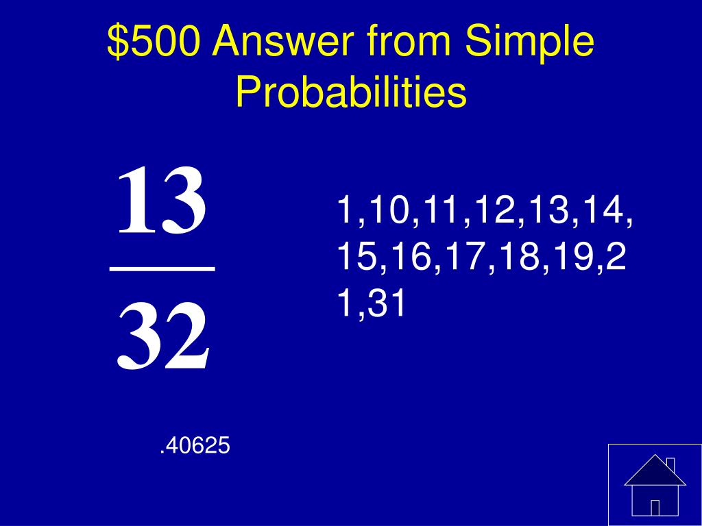 $500 Answer from Simple Probabilities