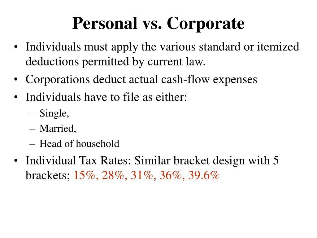 Personal vs. Corporate