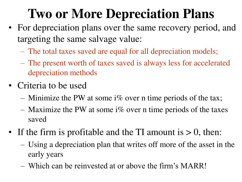 Two or More Depreciation Plans