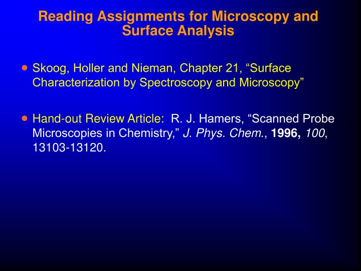 Reading assignments for microscopy and surface analysis