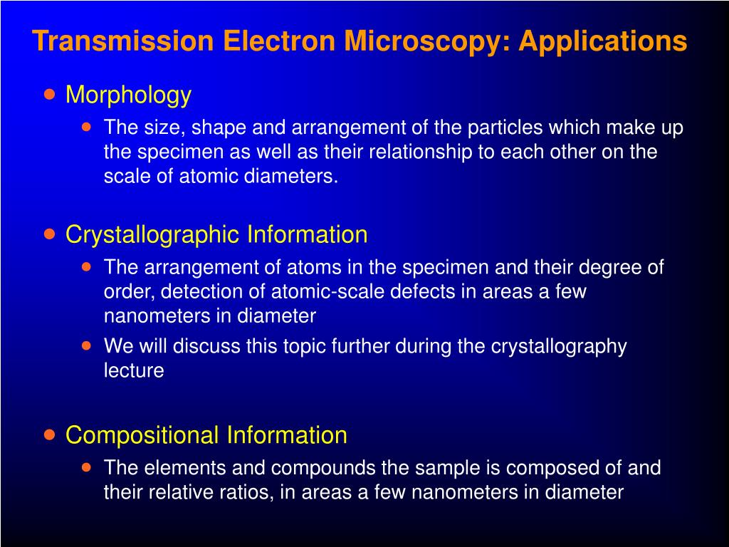 Transmission Electron Microscopy: Applications