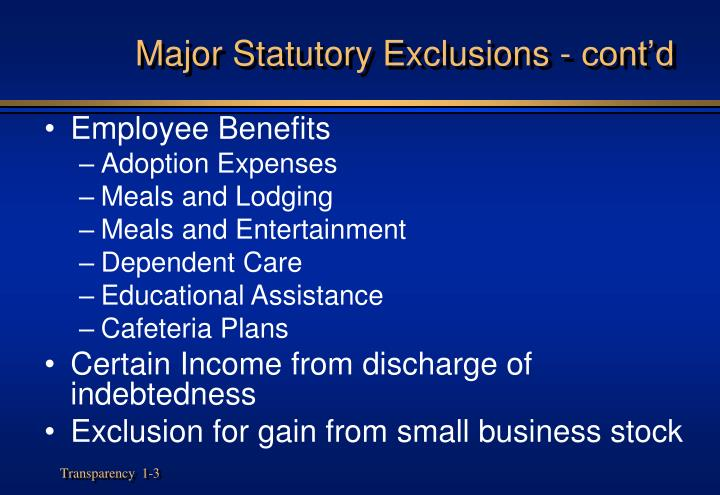 Major statutory exclusions cont d