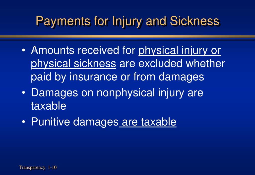 Payments for Injury and Sickness