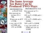 the same average tax rates can be produced two ways