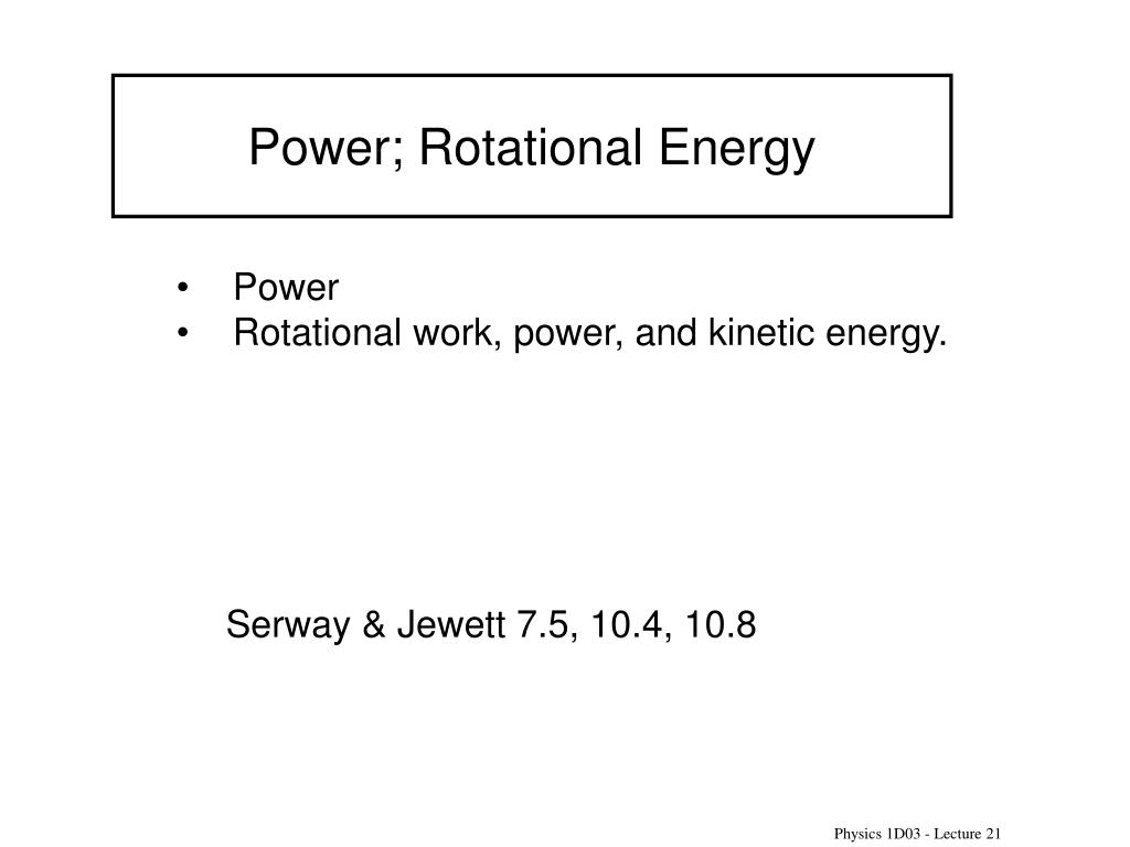 Power; Rotational Energy