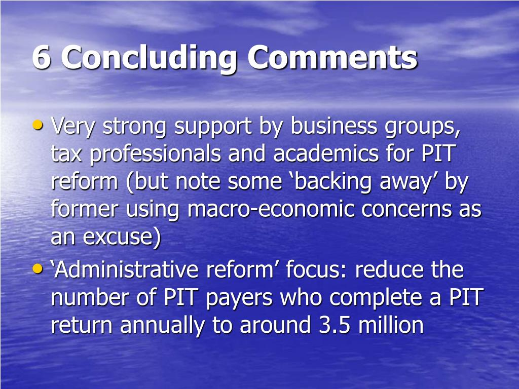 6 Concluding Comments