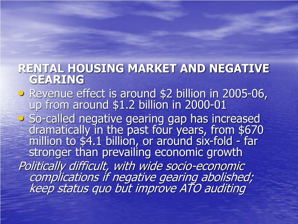 RENTAL HOUSING MARKET AND NEGATIVE GEARING