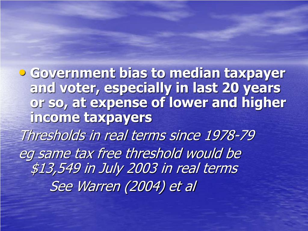 Government bias to median taxpayer and voter, especially in last 20 years or so, at expense of lower and higher income taxpayers