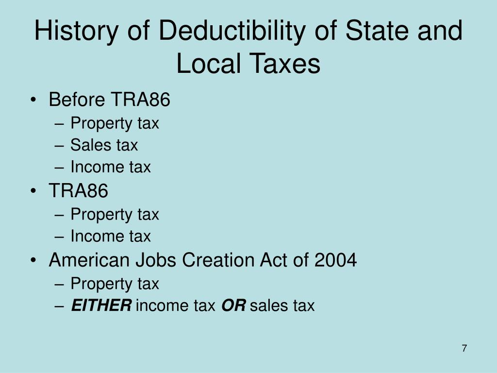 History of Deductibility of State and Local Taxes