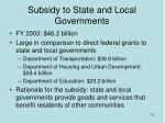 subsidy to state and local governments