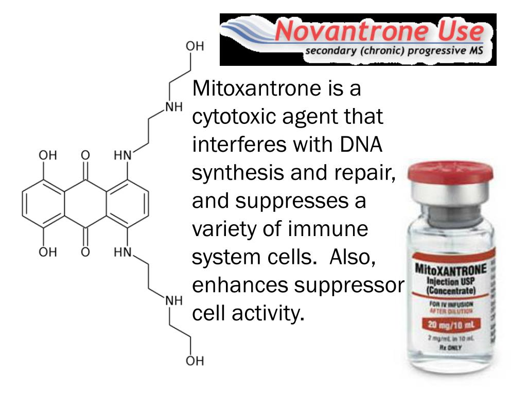 Mitoxantrone is a cytotoxic agent that interferes with DNA synthesis and repair, and suppresses a variety of immune system cells.  Also, enhances suppressor cell activity.