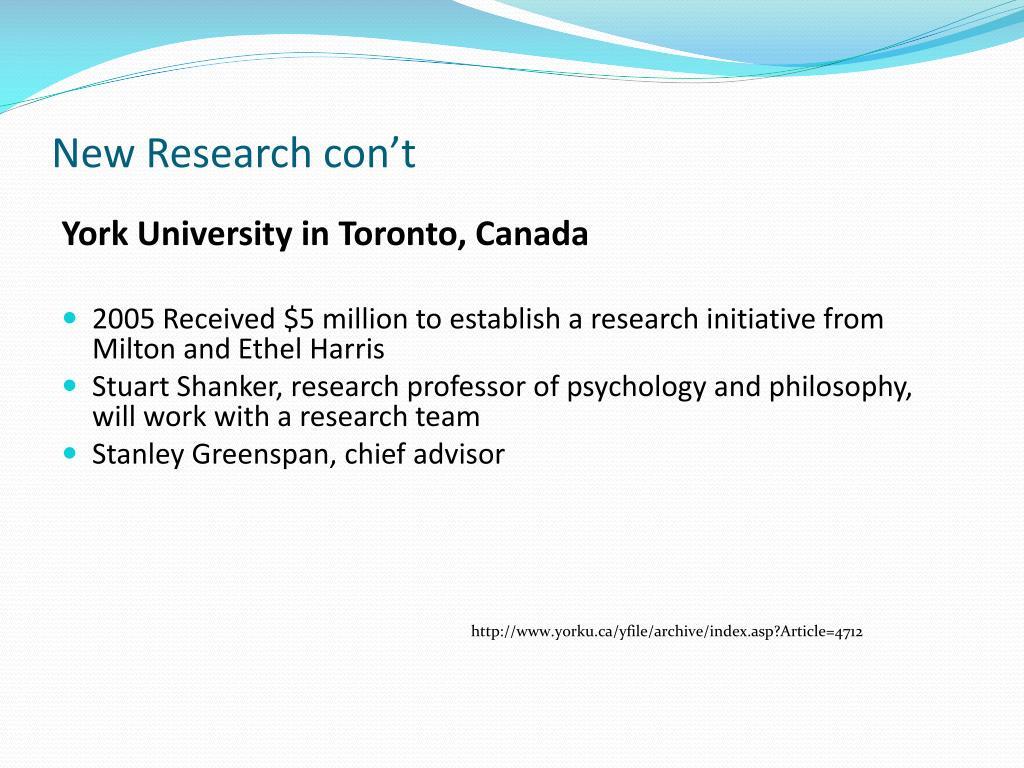 New Research con't