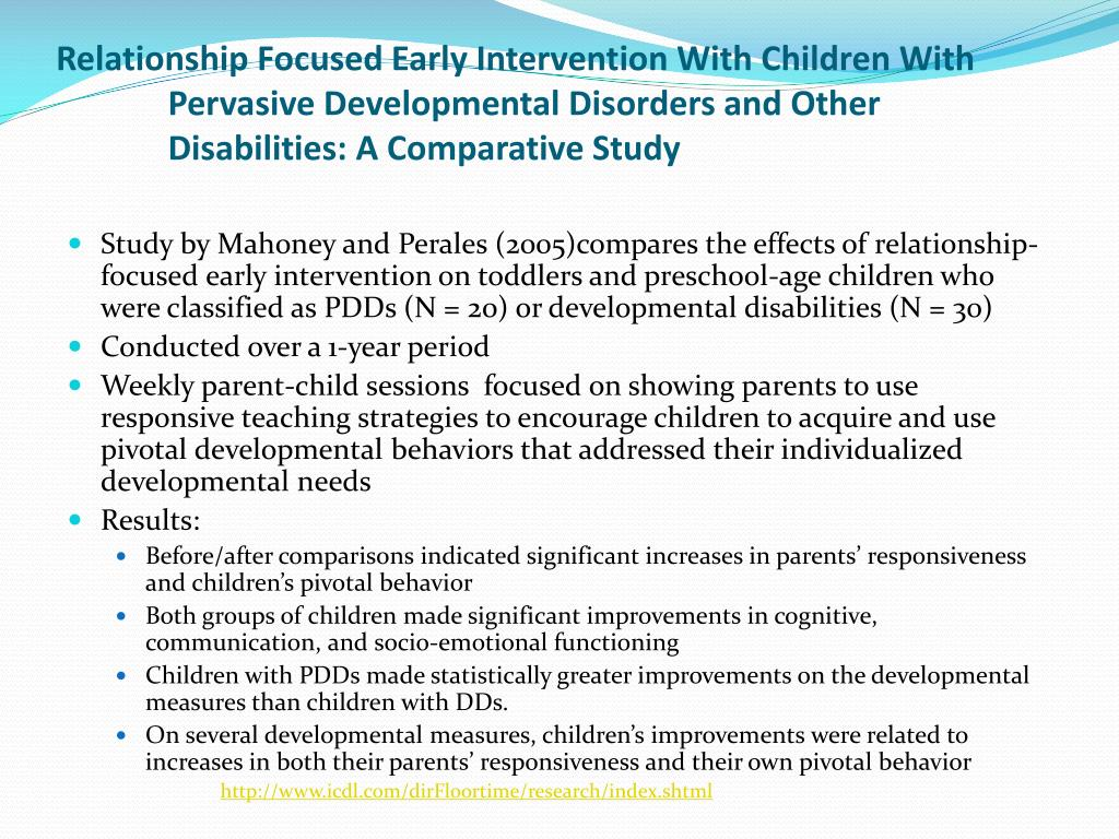 Relationship Focused Early Intervention With Children With