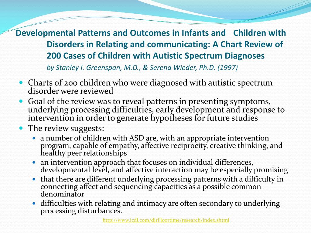 Developmental Patterns and Outcomes in Infants and Children with Disorders in Relating and communicating: A Chart Review of 200 Cases of Children with Autistic Spectrum Diagnoses