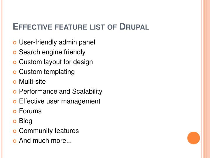 Effective feature list of drupal
