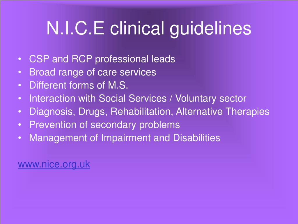 N.I.C.E clinical guidelines