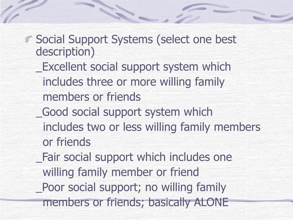 Social Support Systems (select one best description)