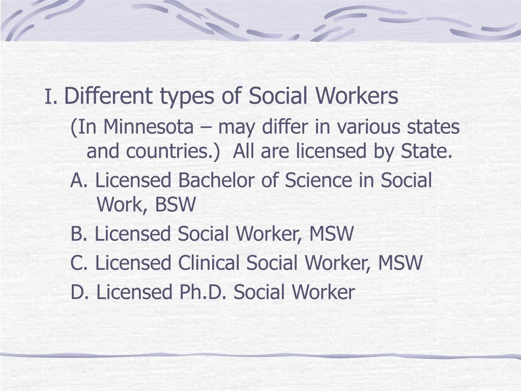 Different types of Social Workers