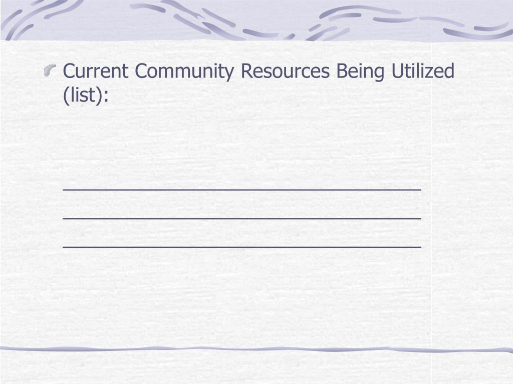 Current Community Resources Being Utilized (list):