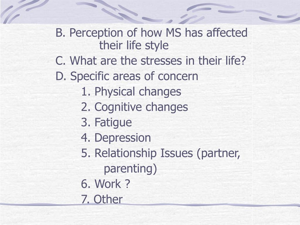 B. Perception of how MS has affected 		            their life style