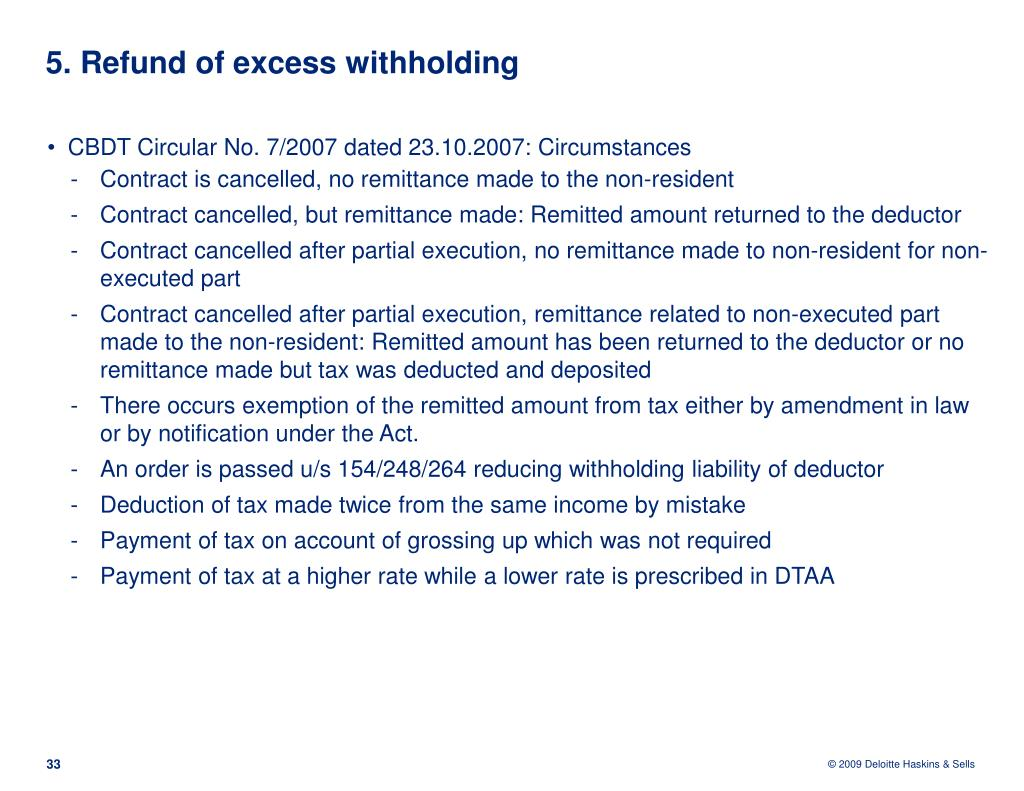 5. Refund of excess withholding