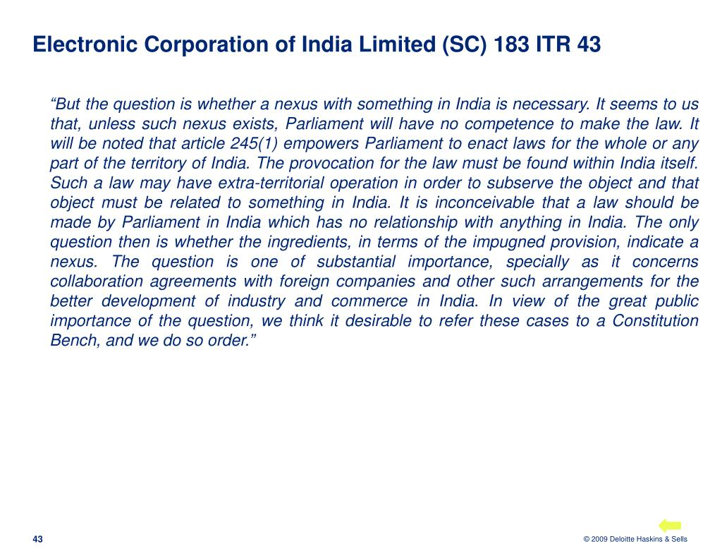 Electronic Corporation of India Limited (SC) 183 ITR 43